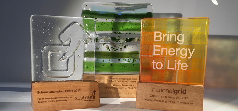 Bespoke trophies, sustainable trophies, recycled glass trophies and handmade awards